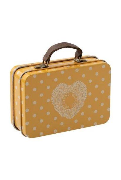 Maileg miniature metal suitcase yellow dot