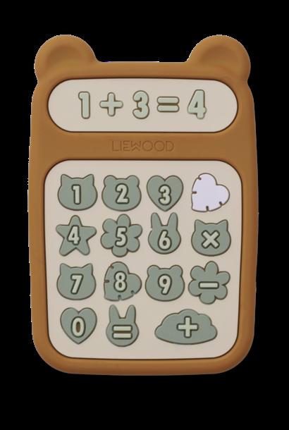 Liewood bijtspeelgoed niels calculator mustard