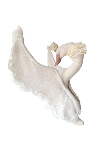 Love me decoration linnen zwaan met lace beige