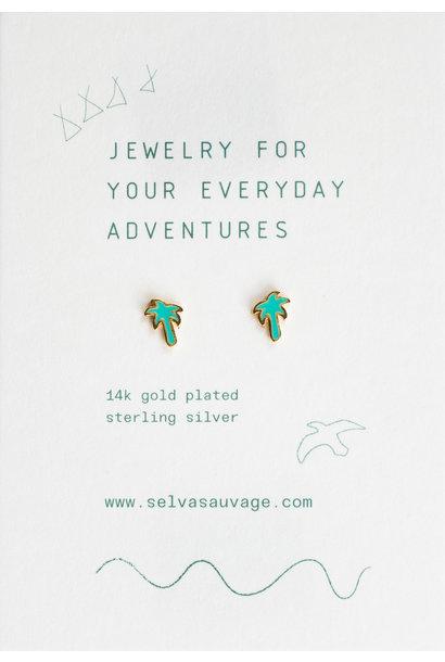 Selva Sauvage earstuds pair palmtree jad