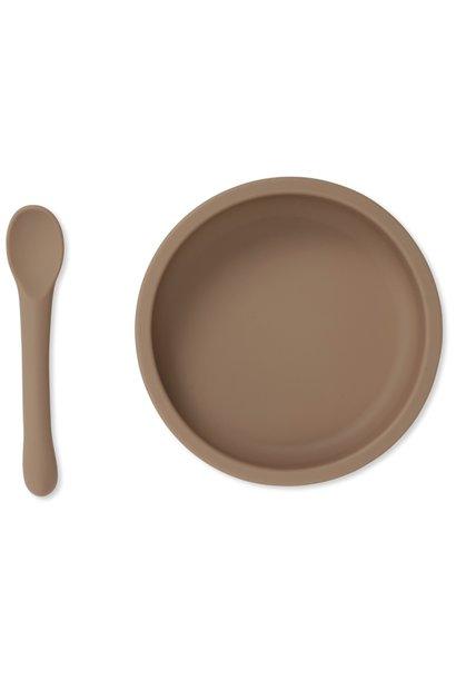 Konges Slojd bowl & spoon silicone set bark