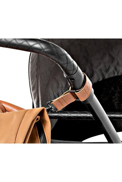 Dusq stroller straps leather sunset cognac