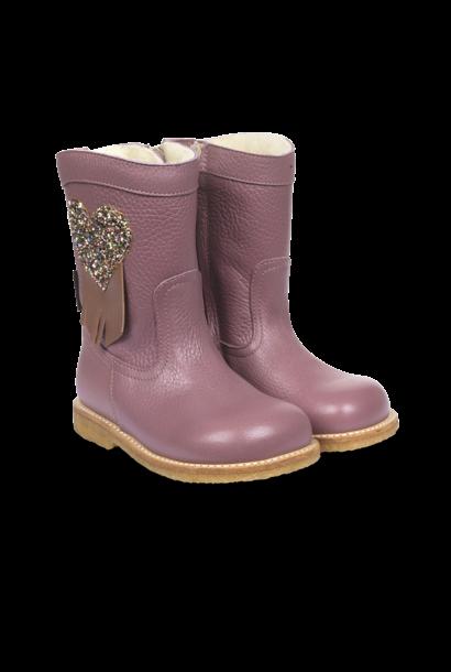 Angulus tex boots with zipper heart plum