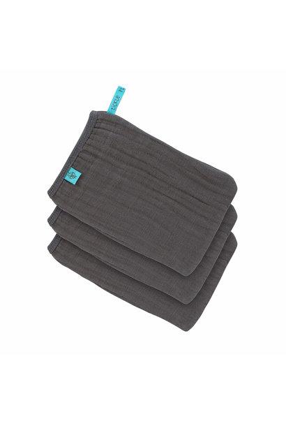 Lässig wash glove 3-pack anthracite