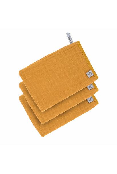 Lässig wash glove 3-pack mustard