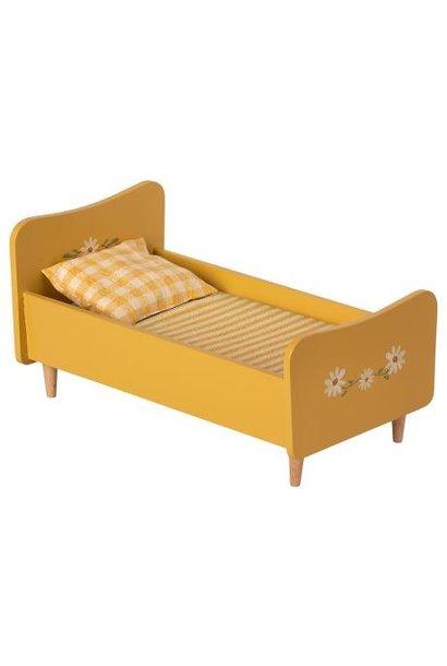 Maileg miniature wooden bed yellow