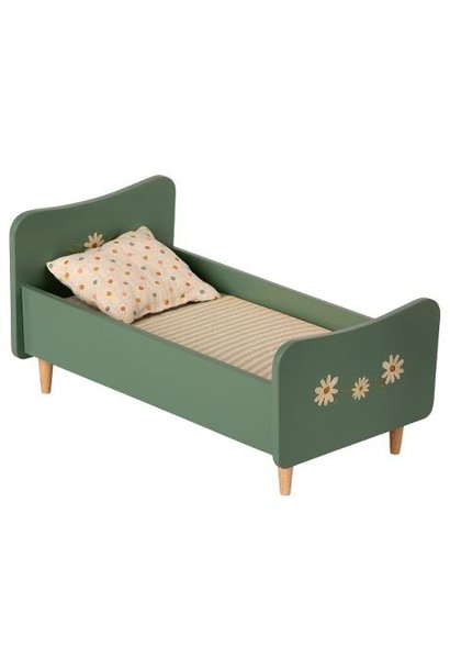 Maileg miniature wooden bed mint blue