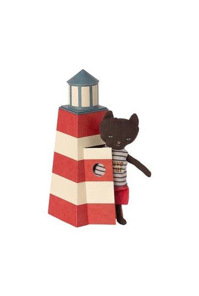 Maileg miniature sauveteur tower with cat