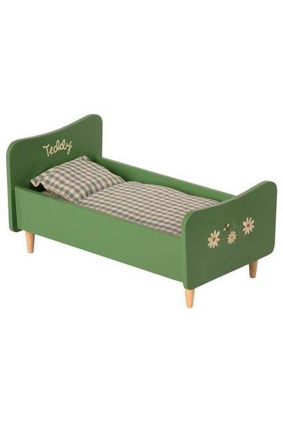 Maileg miniature wooden bed teddy dad dusty green