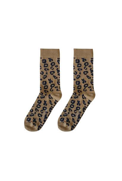 Maed for mini MAMA sokken leopard brown