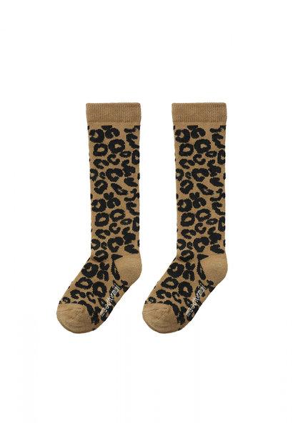 Maed for mini knee socks brown leopard