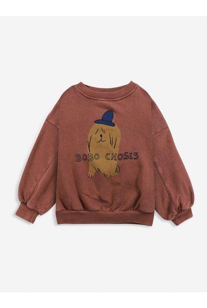 Bobo Choses sweater kids dog in the hat tandoori spice