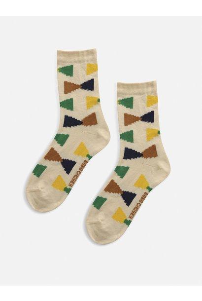 Bobo Choses socks kids ecru geometric rainy day