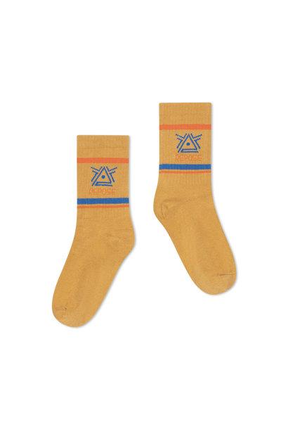 Repose socks caramel logo