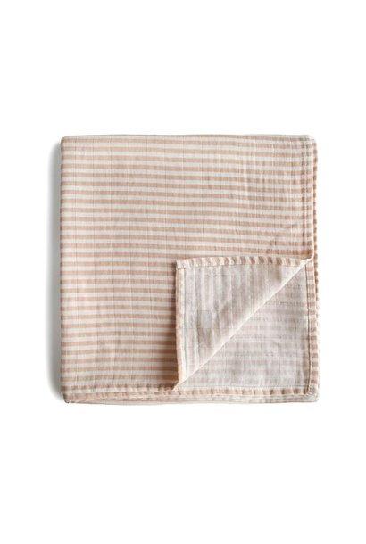 Mushie swaddle natural stripes