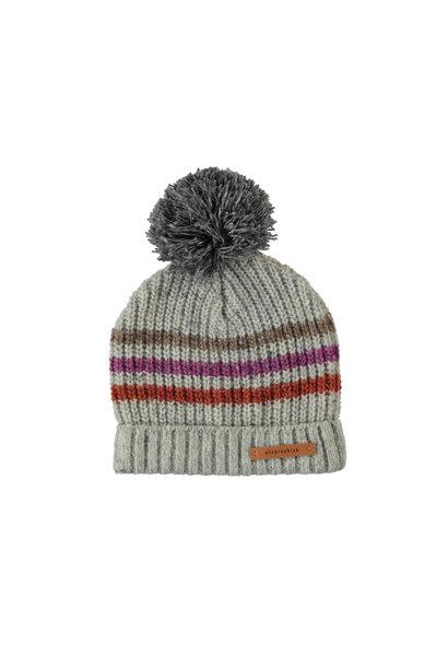 Piupiuchick knitted beanie stripes grey