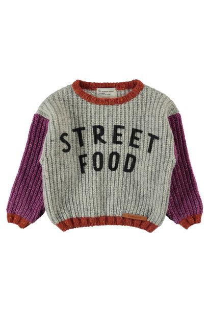 Piupiuchick knitted sweater street food light grey