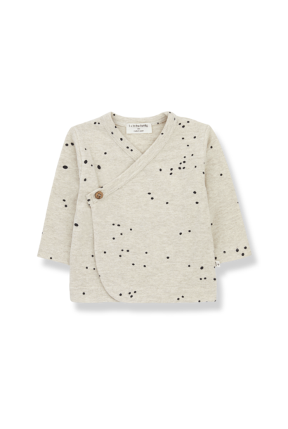 1+ in the family wrap longsleeve allegra alabaster black dots