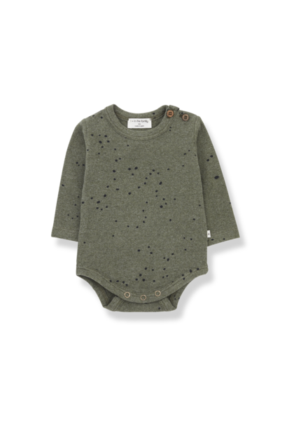 1+ in the family longsleeve romper lore olive black dots
