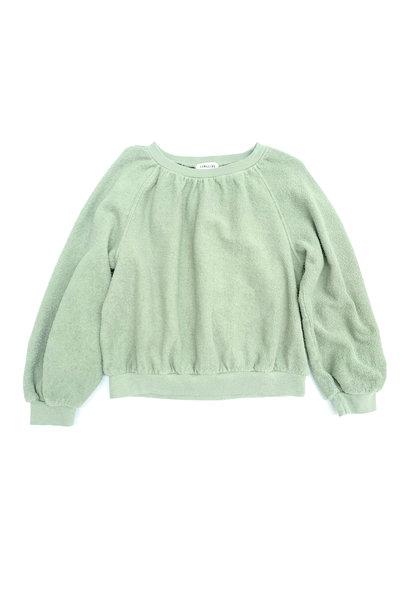 Long live the queen terry sweater green tea