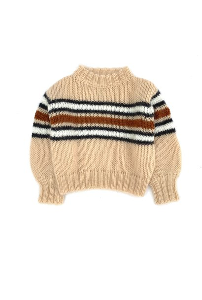 Long live the queen sweater natural stripes