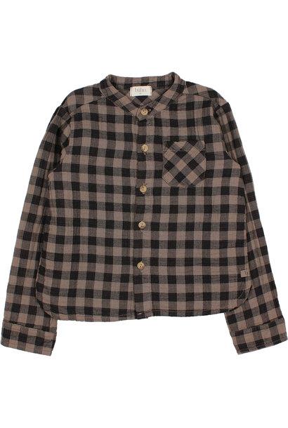 Buho blouse vichy pocket taupe