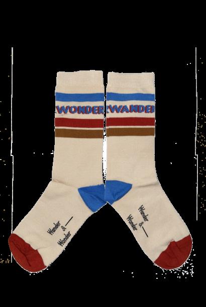 Wander & Wonder socks cream striped