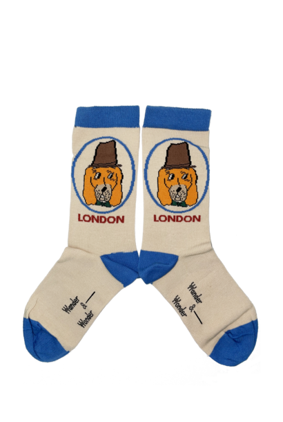 Wander & Wonder socks dog cream