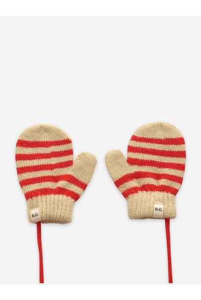 Bobo Choses knitted mittens red fiesta