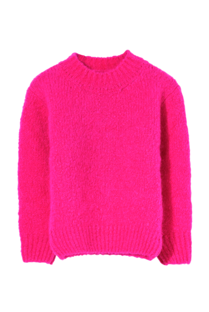 Finger in the nose sweater lona with round neck fun pink