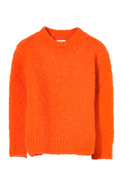 Finger in the nose sweater lona with round neck pop orange