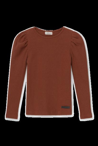 My Little Cozmo rib sweater puff sleeves jaden brown