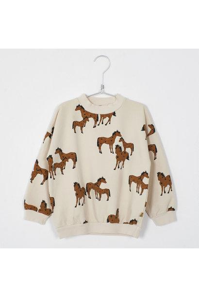 Lötie kids sweater horses cream