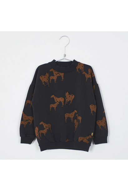 Lötie kids sweater horses vintage black