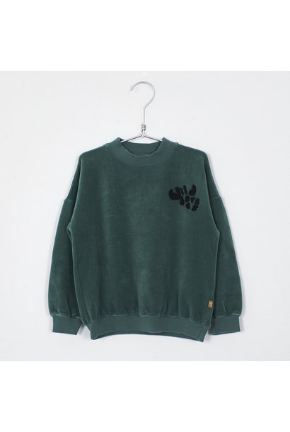 Lötie kids corduroy sweater solid green
