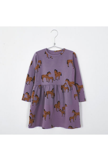 Lötie kids dress waist seam horses lilac