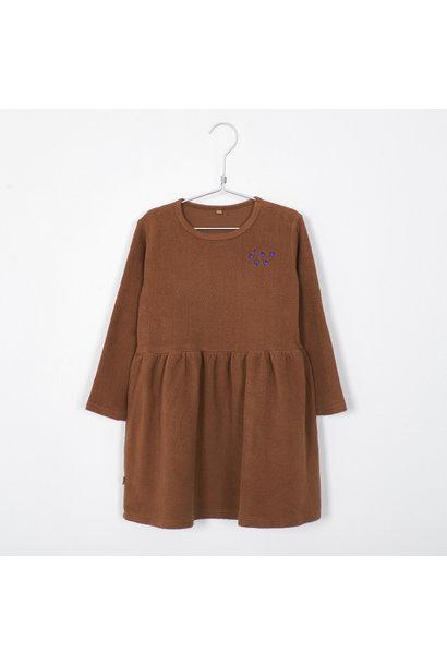 Lötie kids dress waist seam solid cinnamon