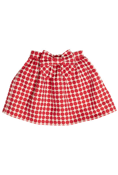 Maed for mini short skirt flowy ferret red dots