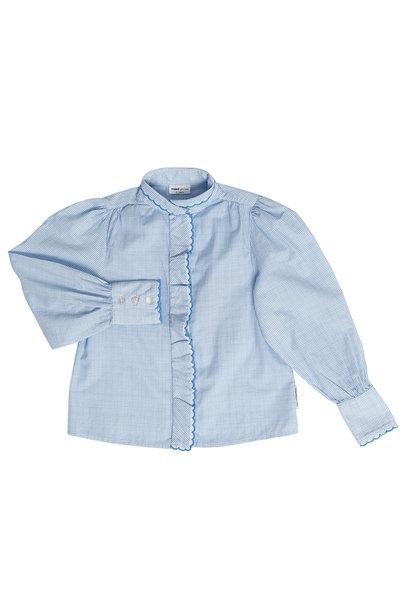 Maed for mini blouse gingham gibbon white lightblue