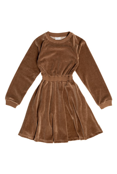 Maed for mini dress velour caramel coyote