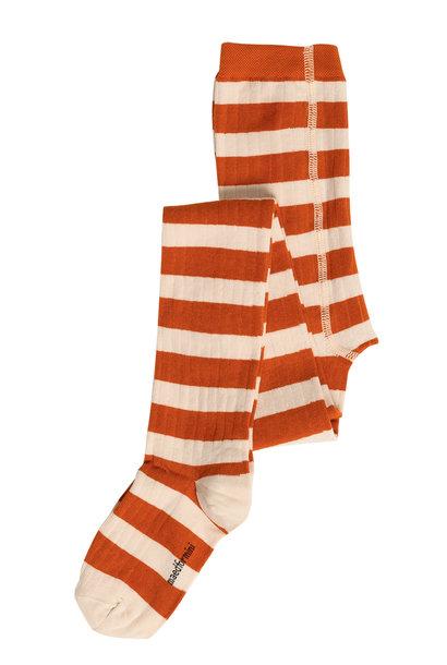 Maed for mini tights orange ox white stripes