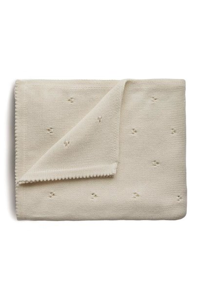 Mushie knitted blanket pointelle ivory