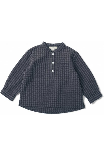 Konges Slojd blouse with buttons harlow blue fog check