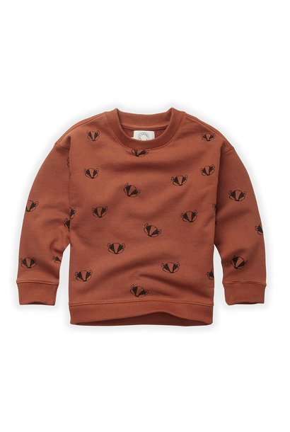 Sproet & Sprout sweater badger print auburn