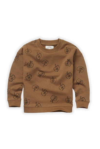Sproet & Sprout sweater apple print mustard