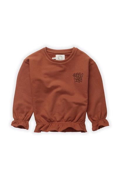 Sproet & Sprout sweater ruffle girls rule auburn