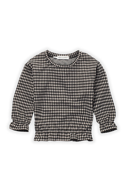 Sproet & Sprout sweater ruffle block check black