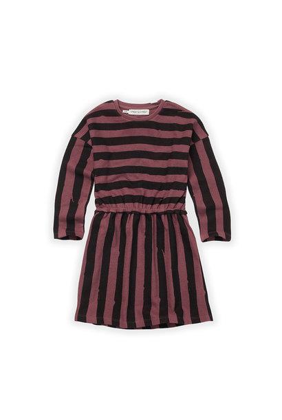 Sproet & Sprout skater dress painted stripe black/ fig
