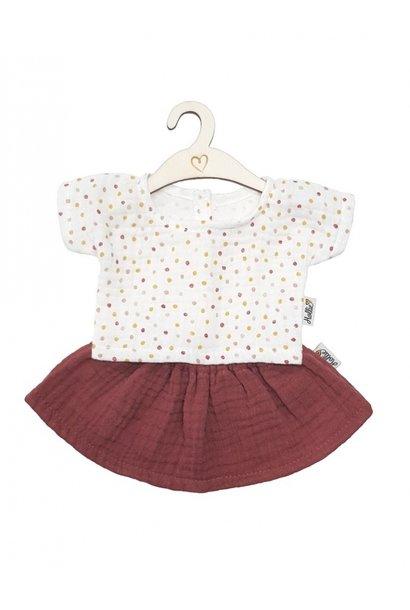 Hollie poppenrok- en shirt blush sweet dots