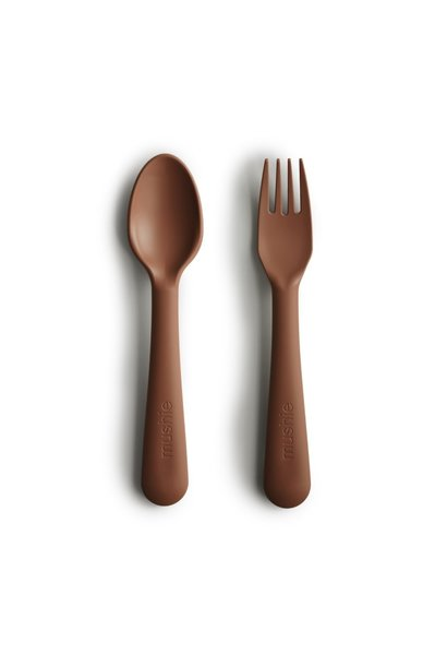 Mushie fork and spoon caramel